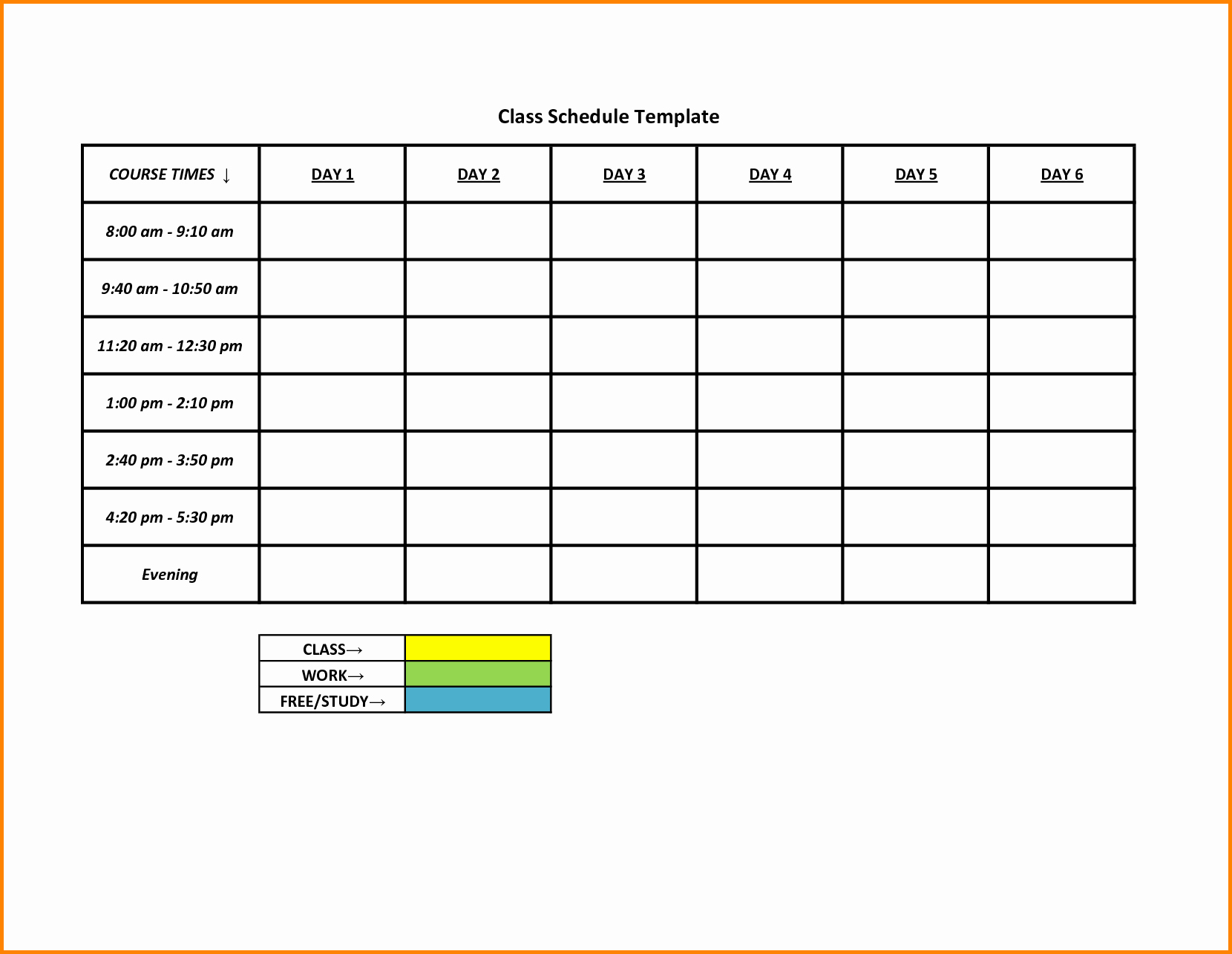 5 Day Schedule Template Portablegasgrillweber
