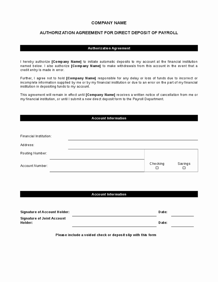 5 Direct Deposit form Templates Excel Xlts