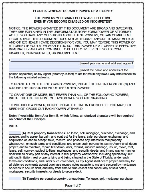 5 Durable Power Of attorney form Templates Download