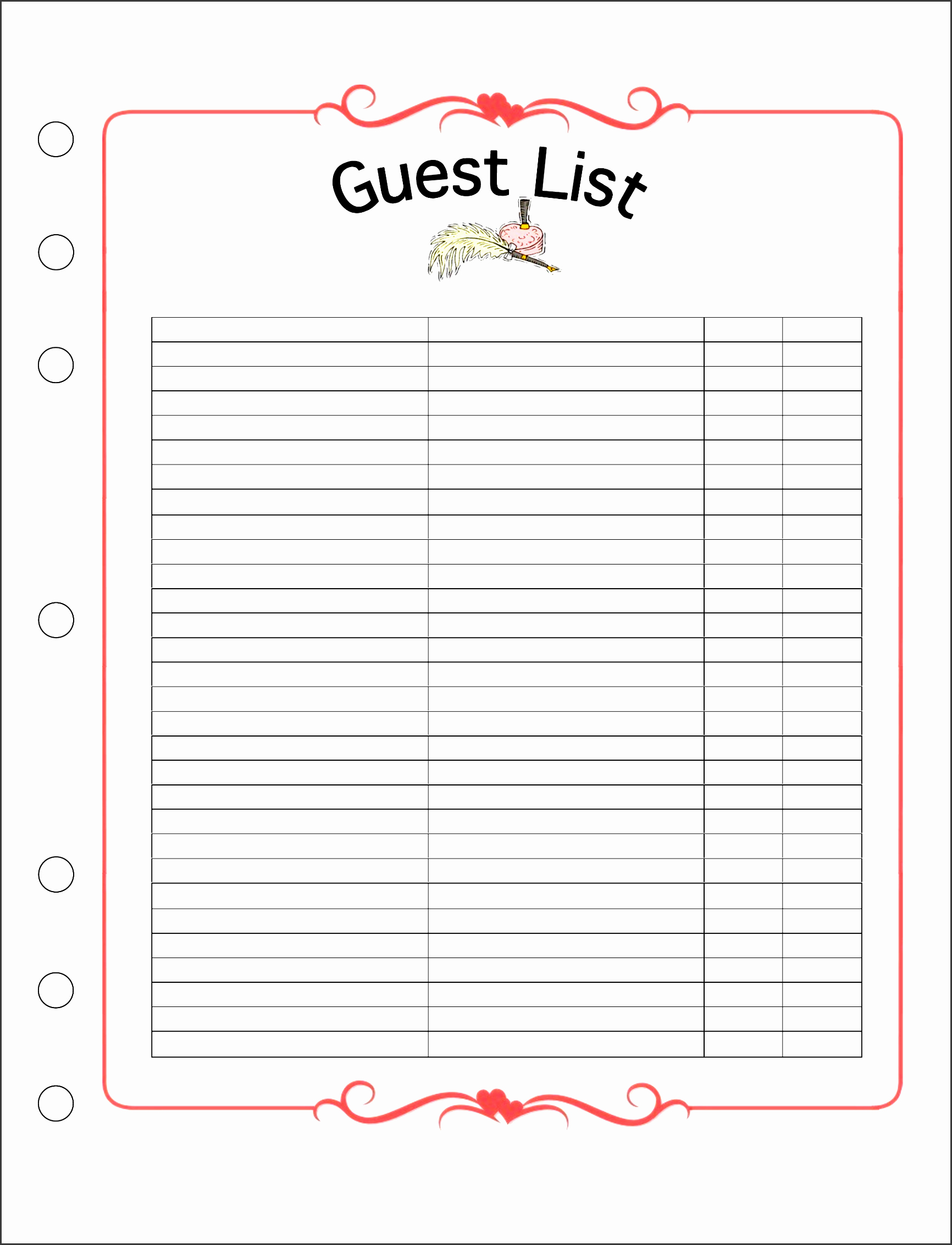 5 Easy to Use Wedding Guest List Template