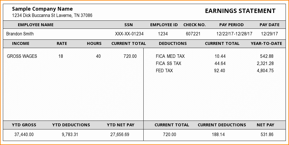 5 examples of pay stubs