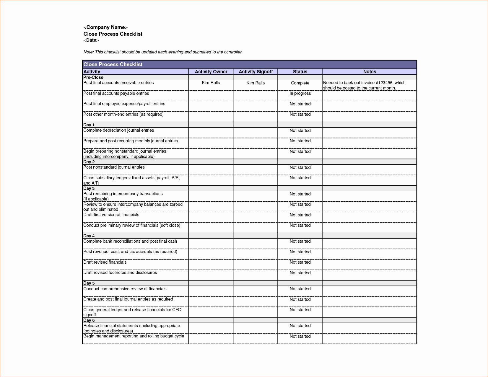 5 Excel Checklist Template