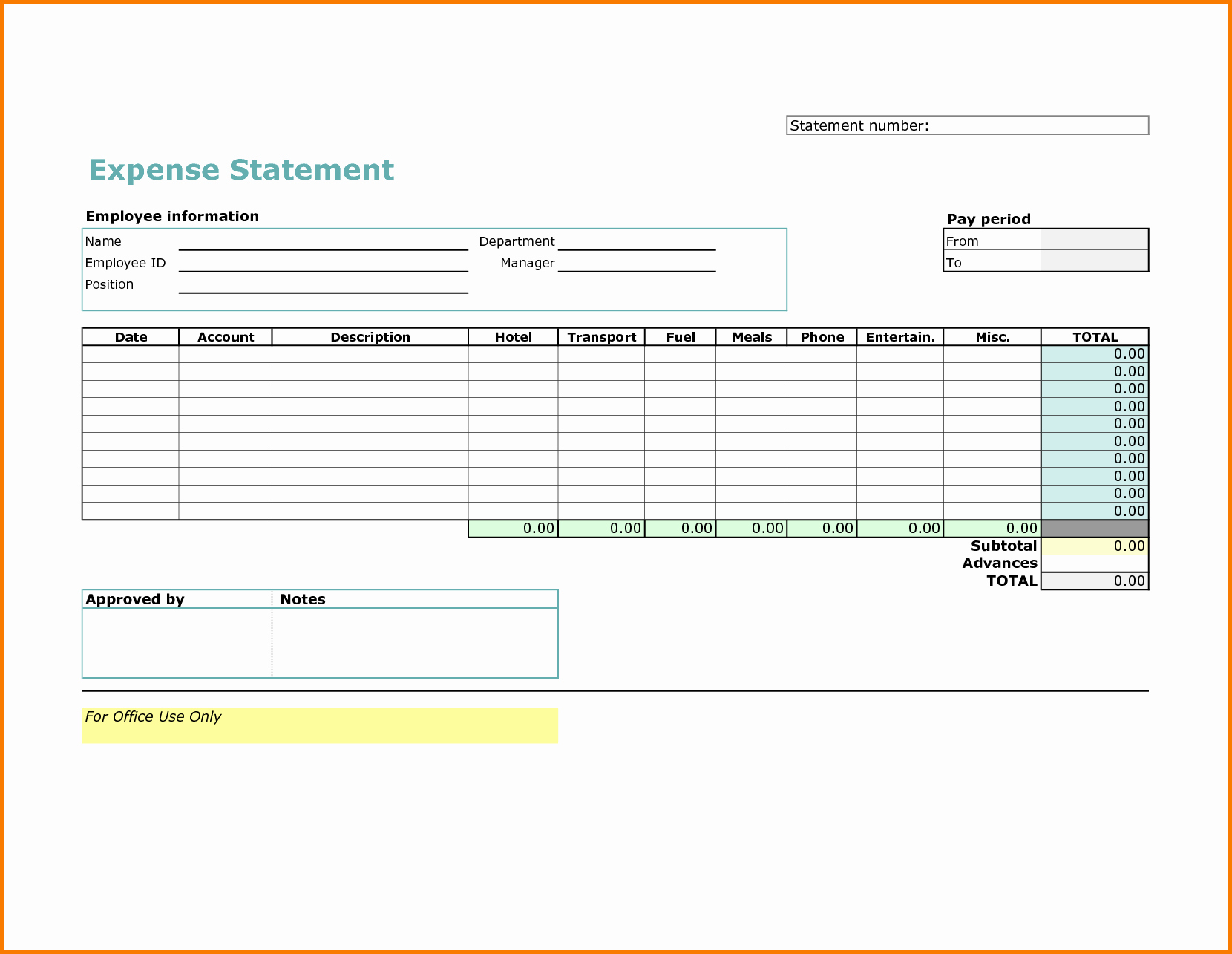 5 Excel Expense Report Template