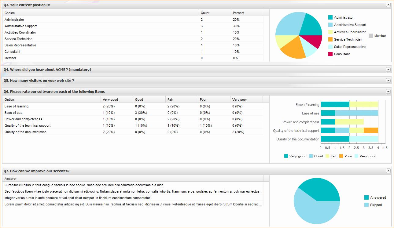 5 Excel Survey Templatereport Template Document