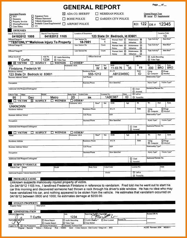 5 Fake Police Report Template