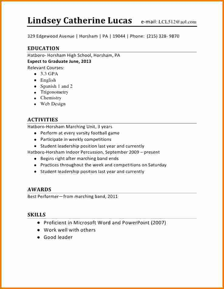 5 First Time Student Resume