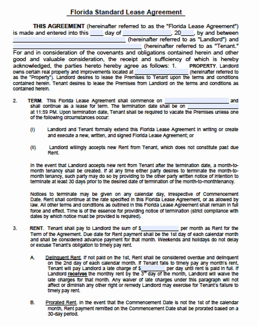 5 Florida Lease Agreement Templates Free Download