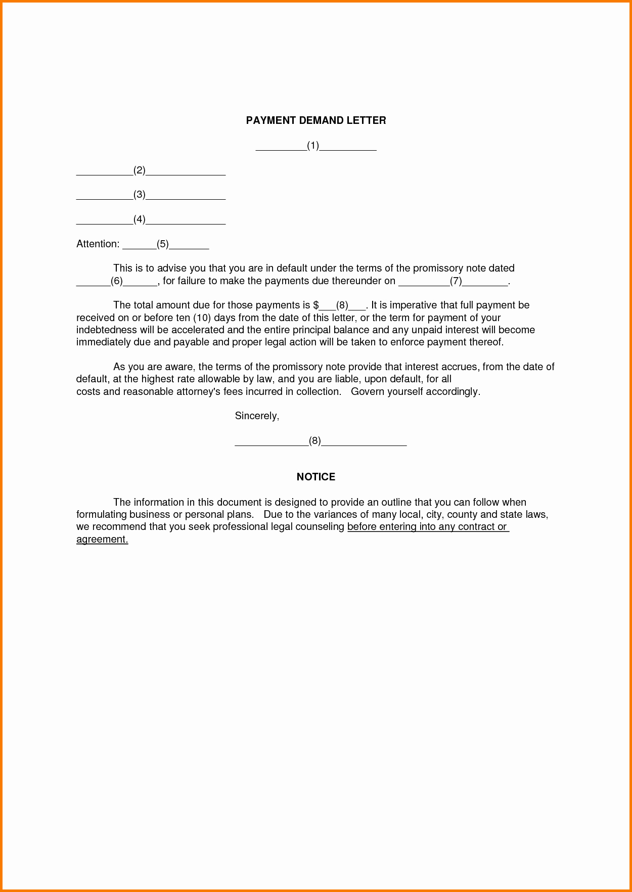 5 formal Demand Letter Template