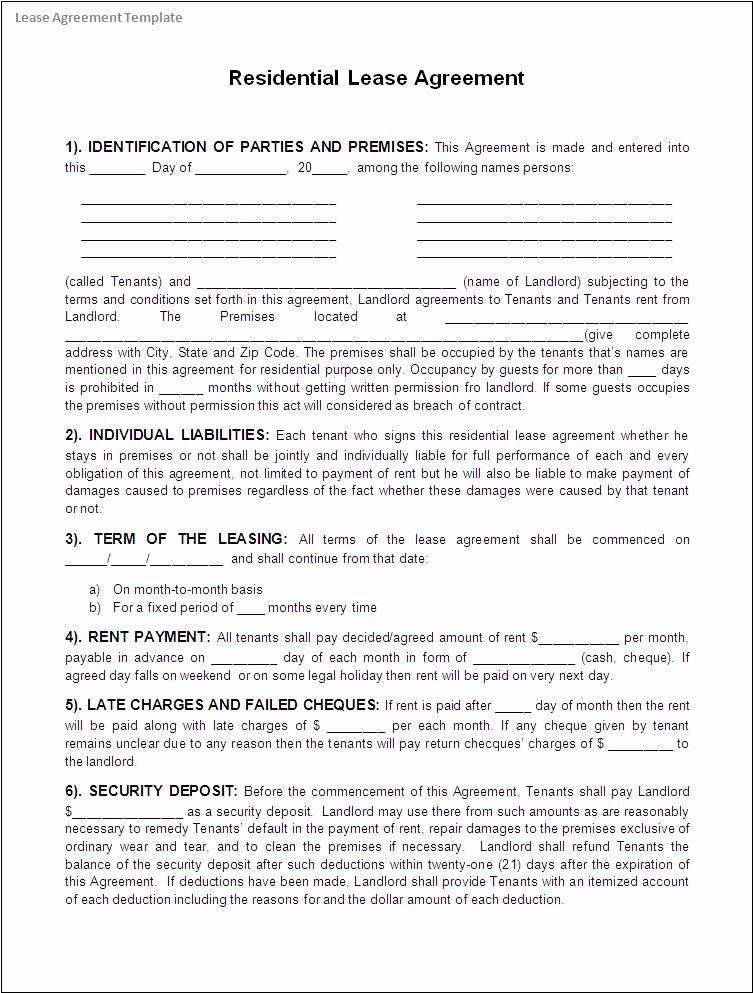 5 Free Lease Agreement Templates Excel Pdf formats