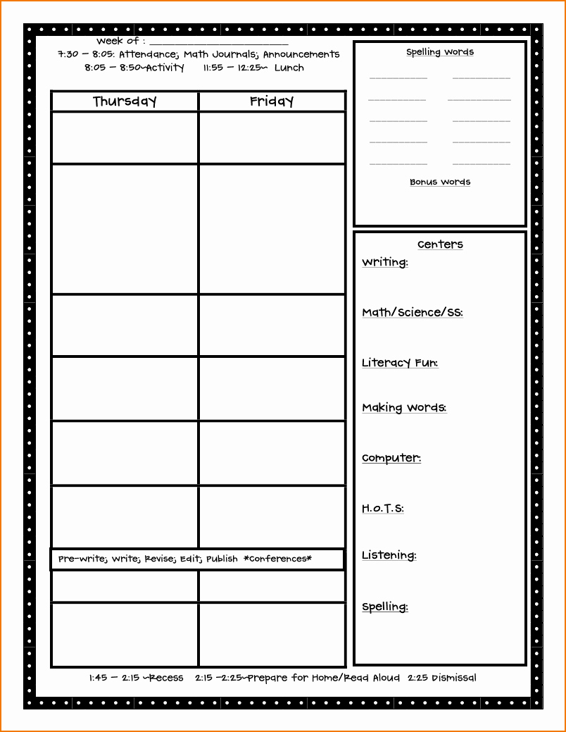 5 Free Lesson Plan Template