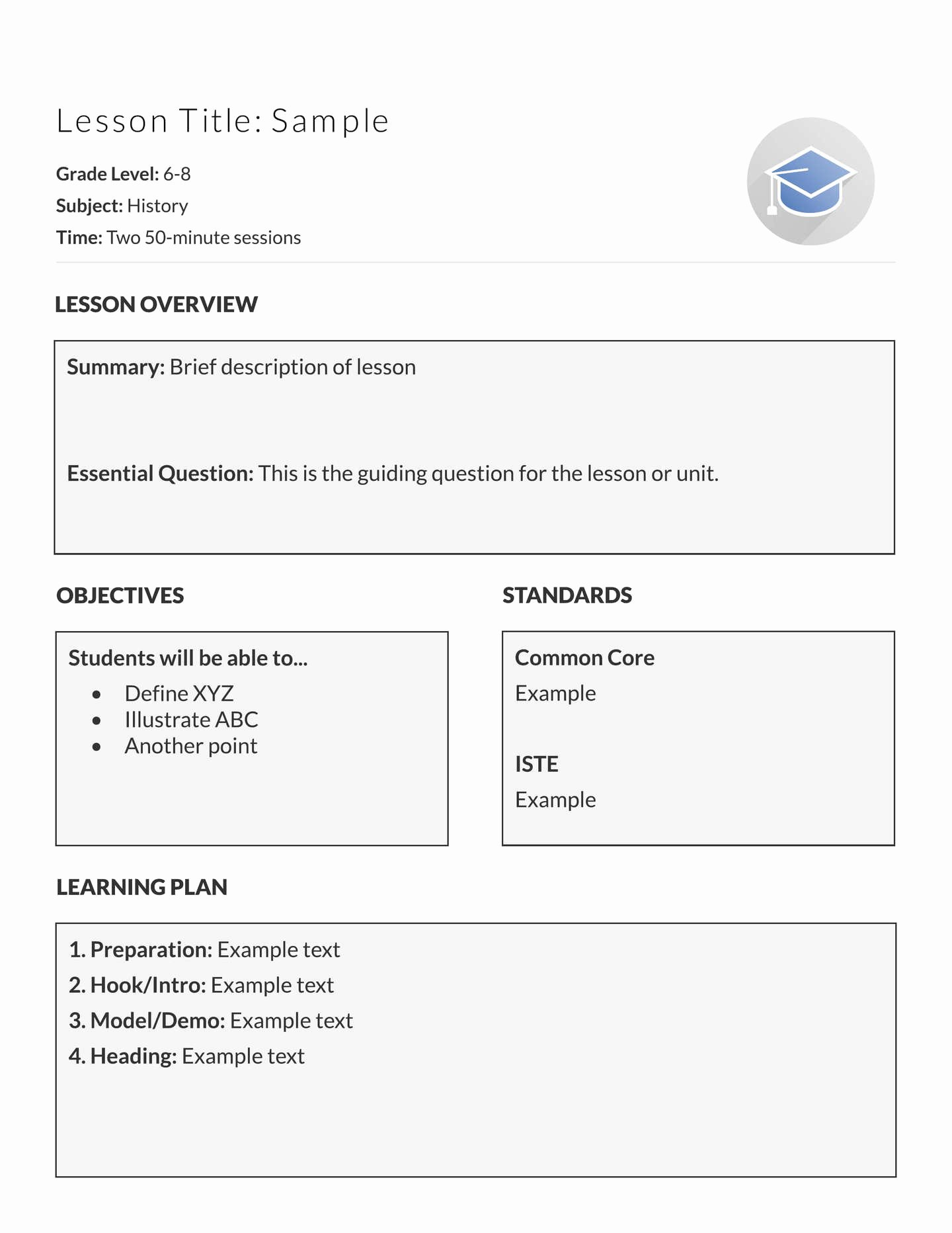 5 Free Lesson Plan Templates & Examples Lucidpress