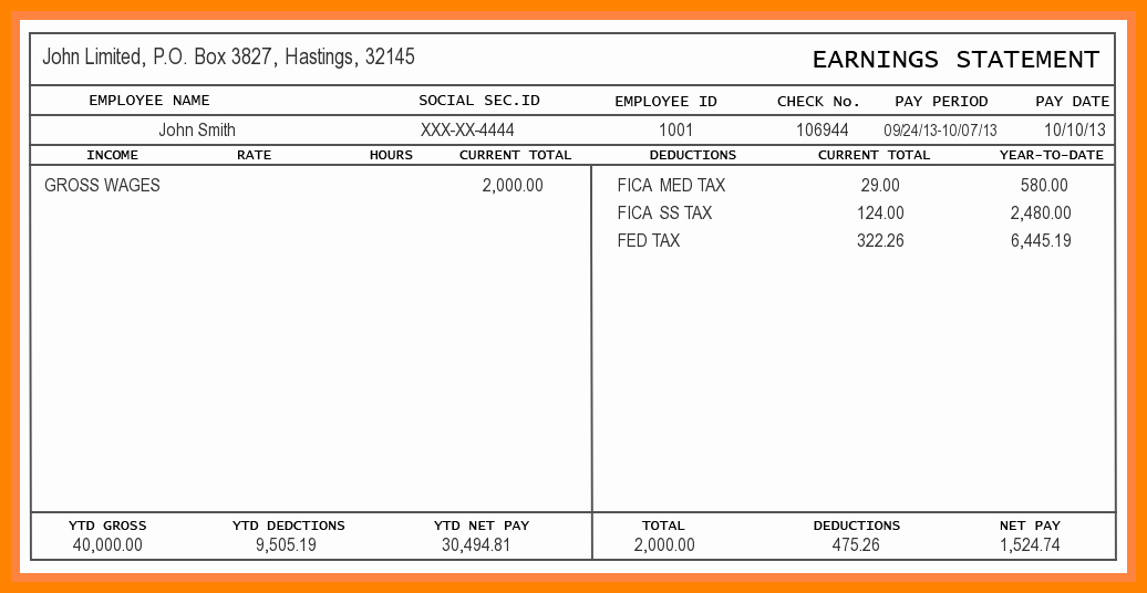 5 Free Paystub Template Excel