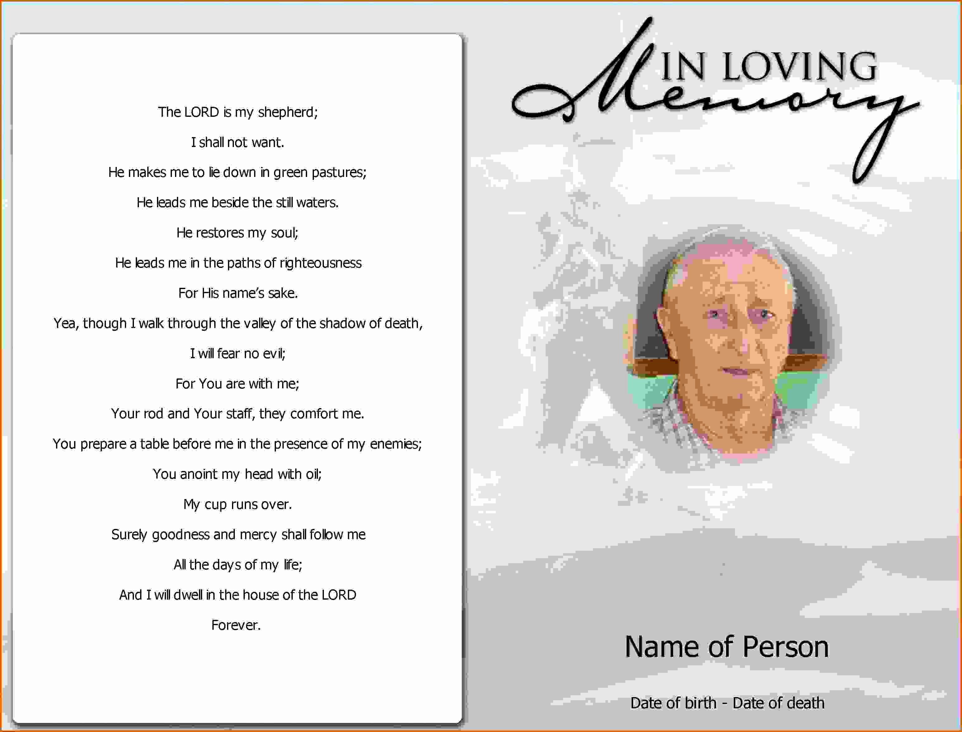 5 Free Printable Obituary Program Template