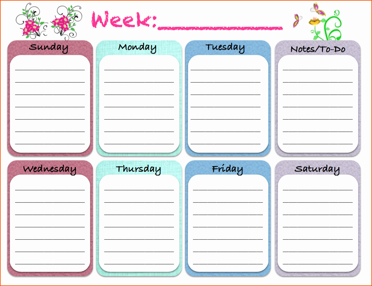 5 Free Printable Weekly Calendars Bookletemplate