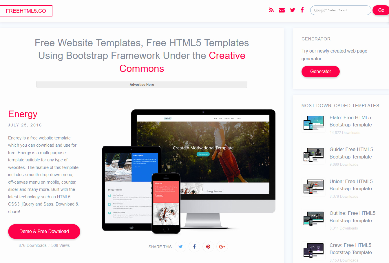 5 Free Responsive Bootstrap themes & Templates Websites