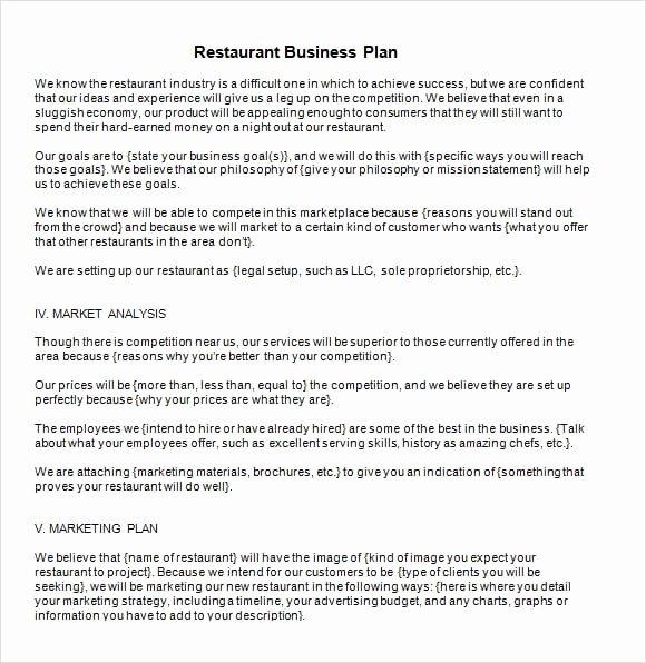 5 Free Restaurant Business Plan Templates Excel Pdf formats