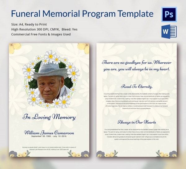 5 Funeral Memorial Program Templates Word Psd format