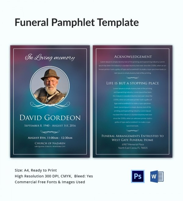 5 Funeral Pamphlet Templates Word Psd format Download