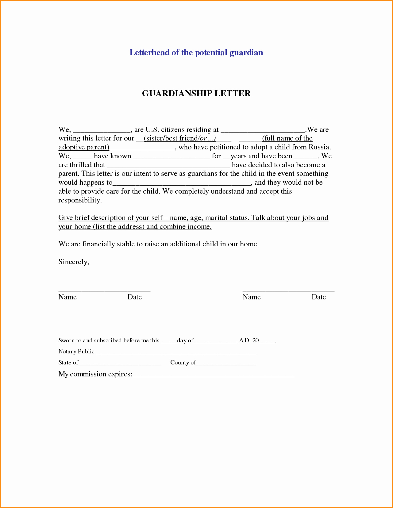 5 Guardianship Letter for School