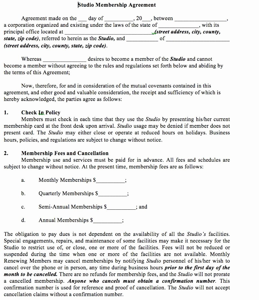 5 Gym Membership Contract Template Itniy