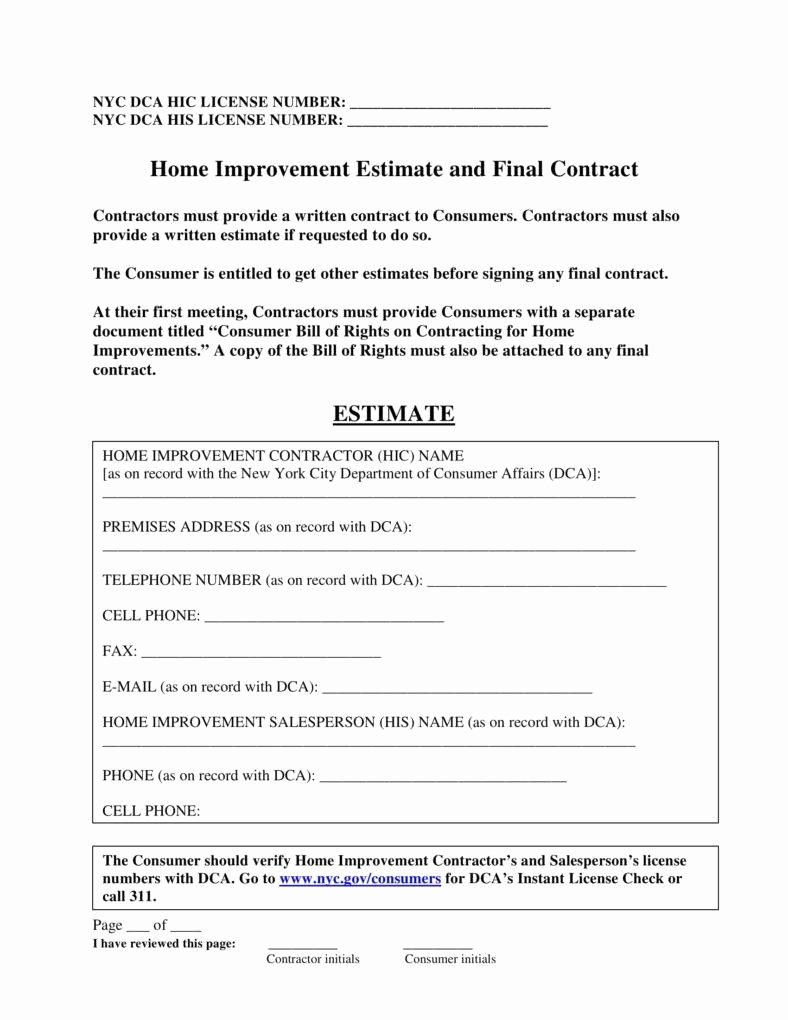 5 Home Repair Contract Templates Pdf