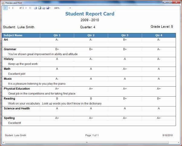 5 Homeschool Report Cardreport Template Document