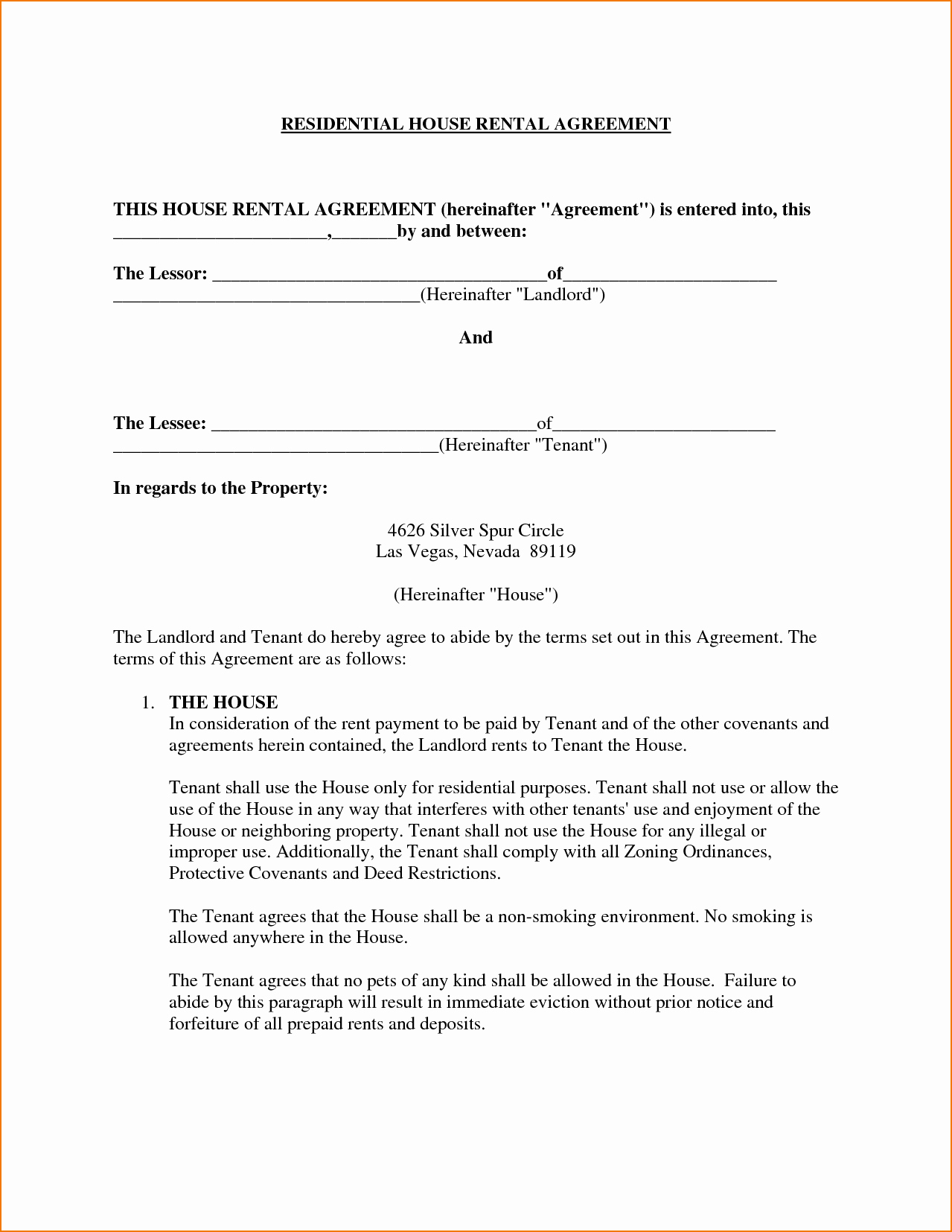 5 House Rental Agreement Template
