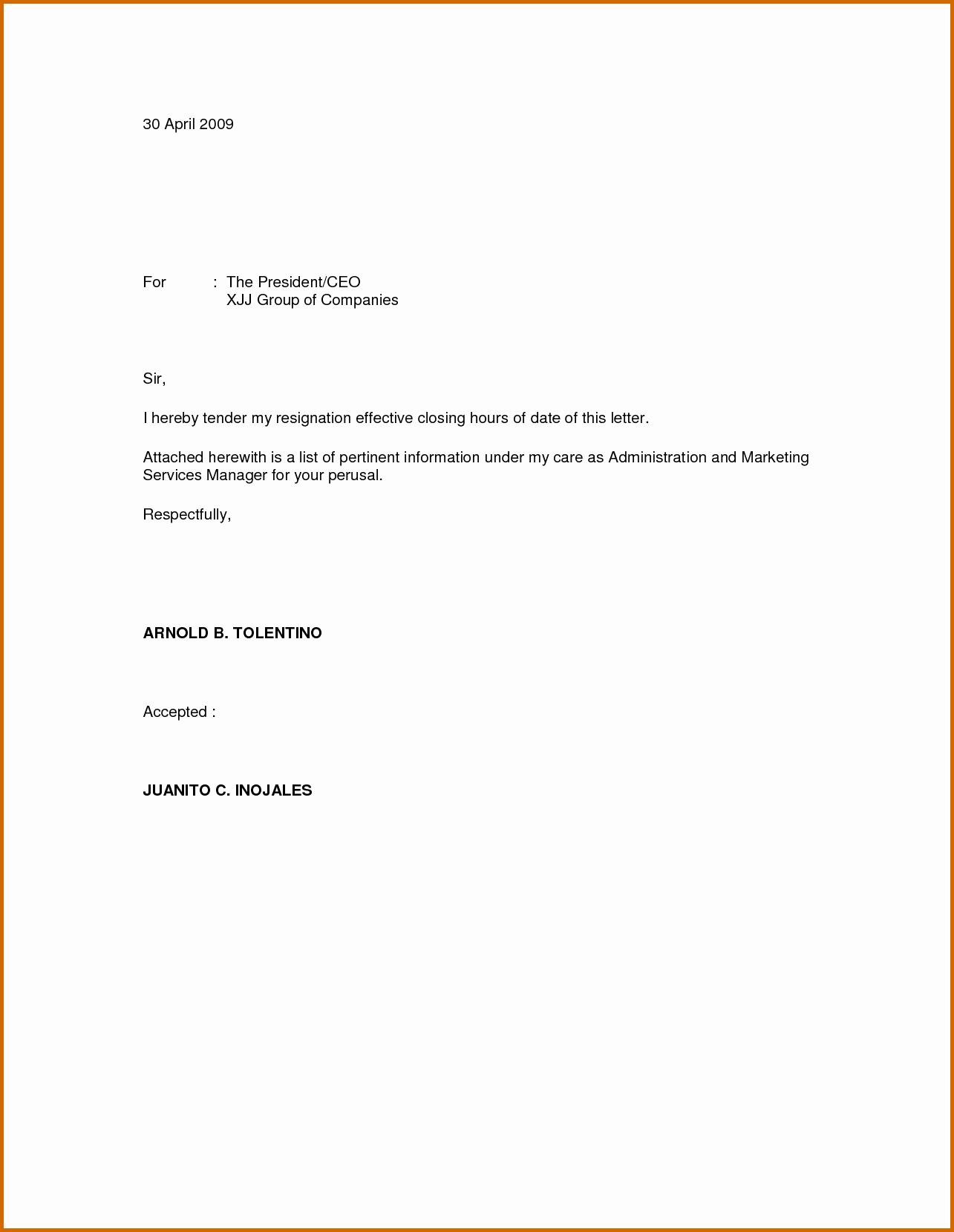 5 Immediate Resignation Letter Sample