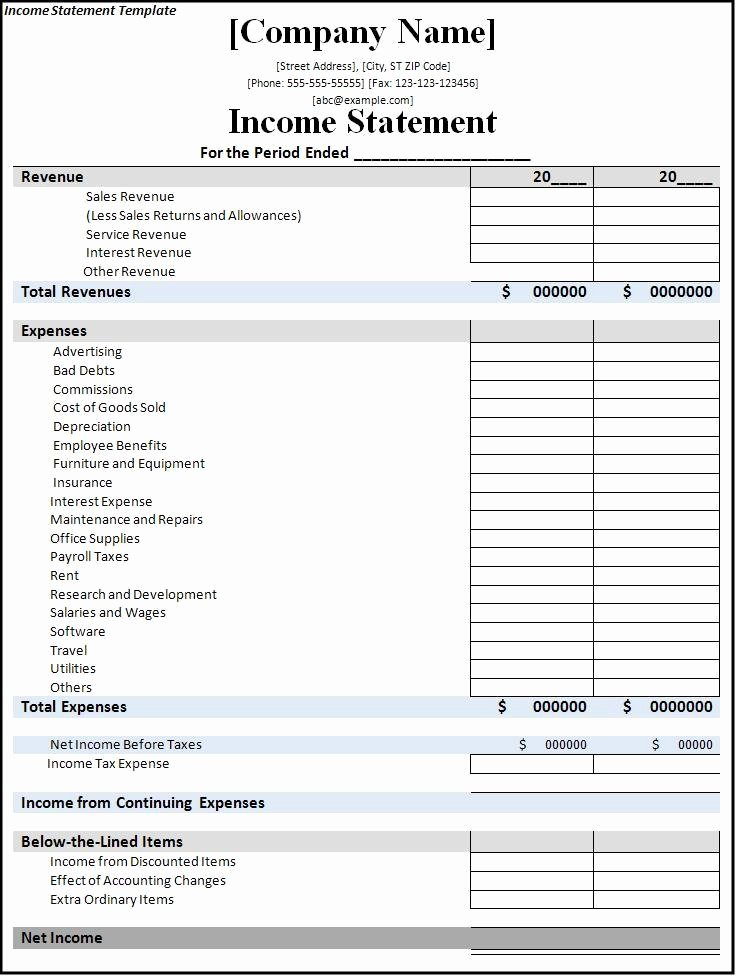5 In E Statement Templates Excel Pdf formats