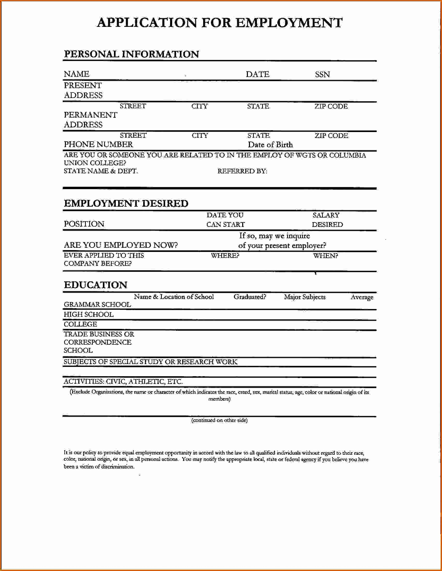 5 Internship Application Template