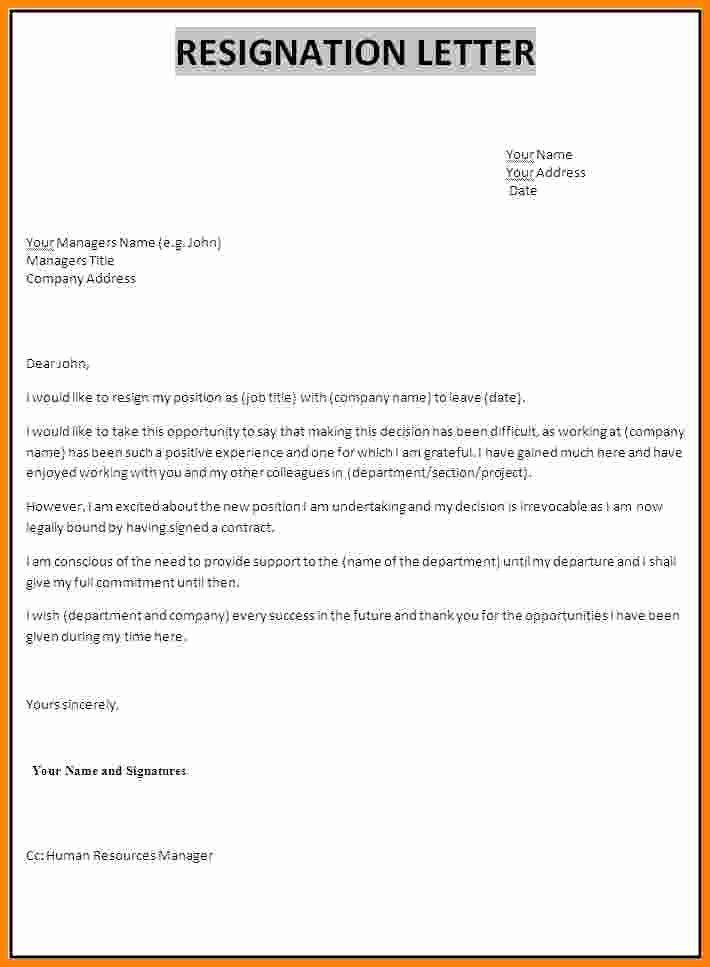 5 Job Resign Letter format Pdf