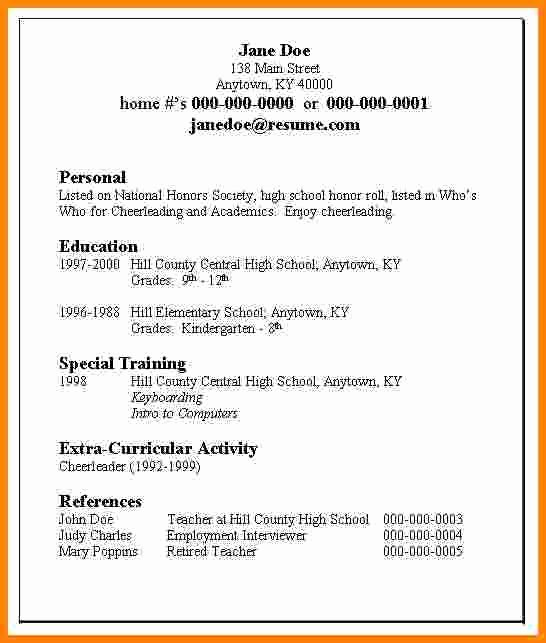 5 Job Resume Examples High School Student