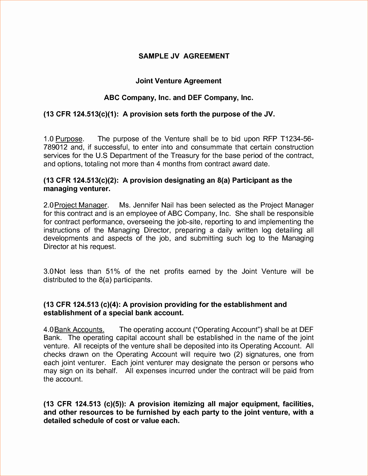 5 Joint Venture Agreement Samplereport Template Document