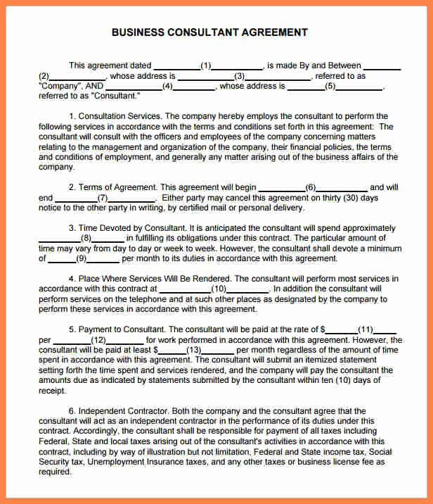 5 management consulting agreement template