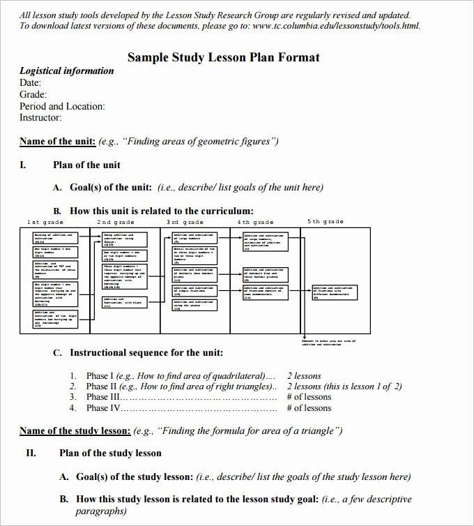 5 Math Lesson Plan Template Free Sample Example format