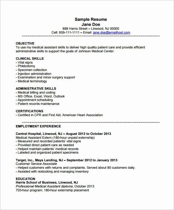 5 Medical assistant Resume Templates Doc Pdf