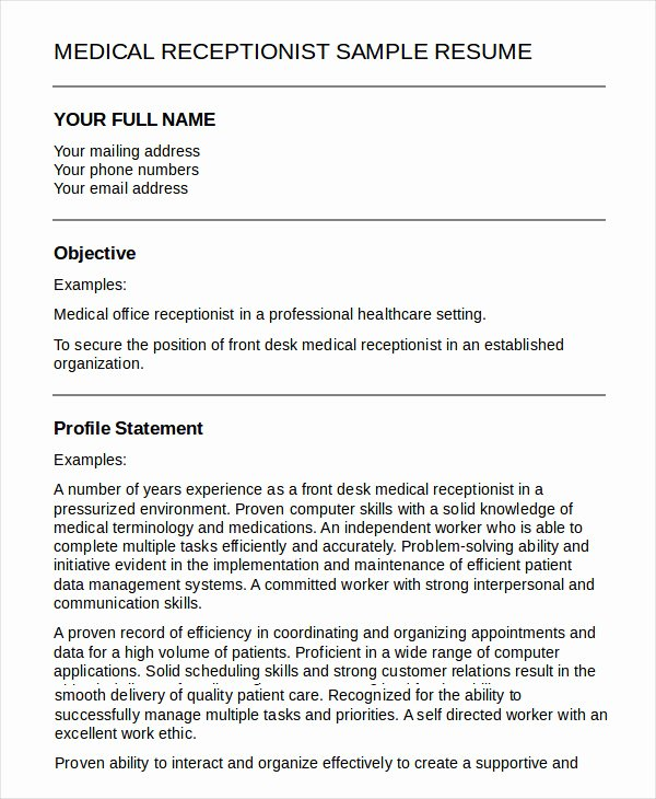5 Medical Receptionist Resume Templates Pdf Doc