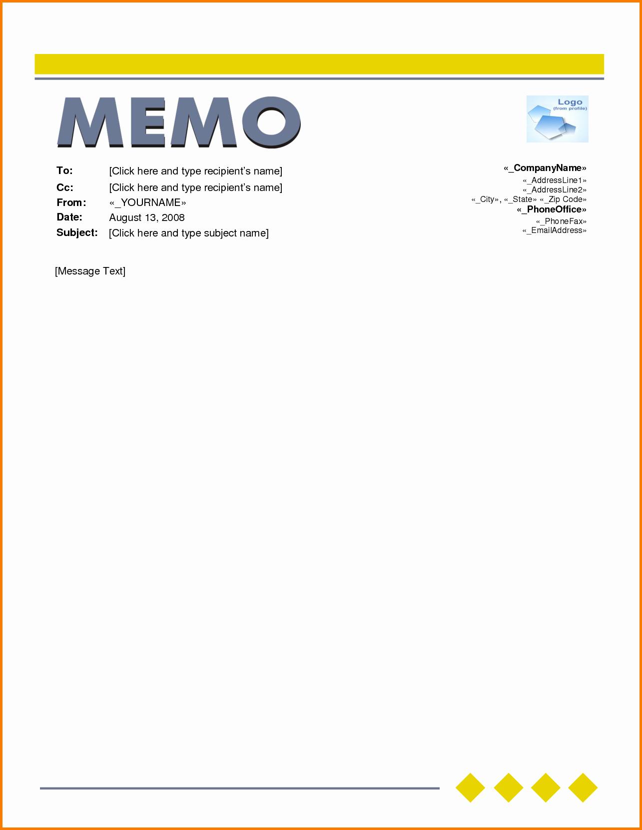 5 Memo format Word