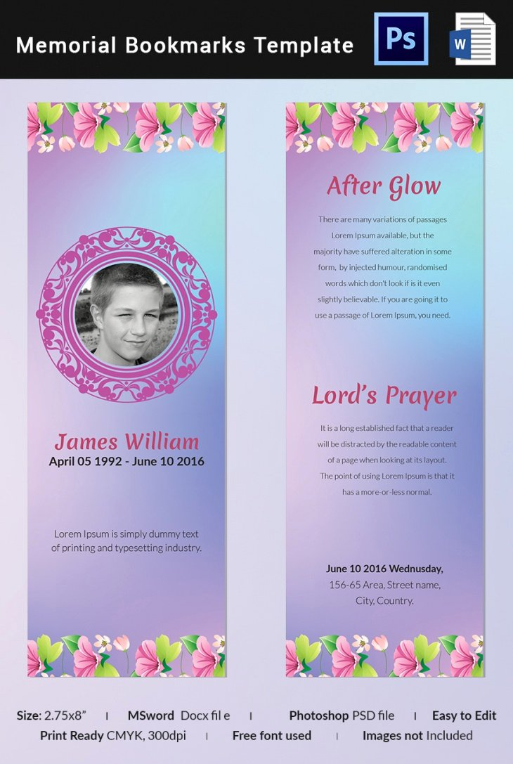 5 Memorial Bookmark Templates – Free Word Pdf Psd
