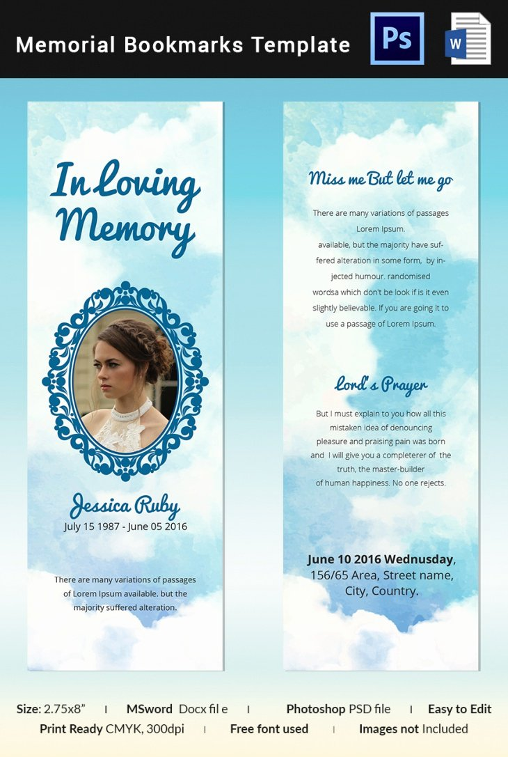 5 Memorial Bookmark Templates – Free Word Pdf Psd