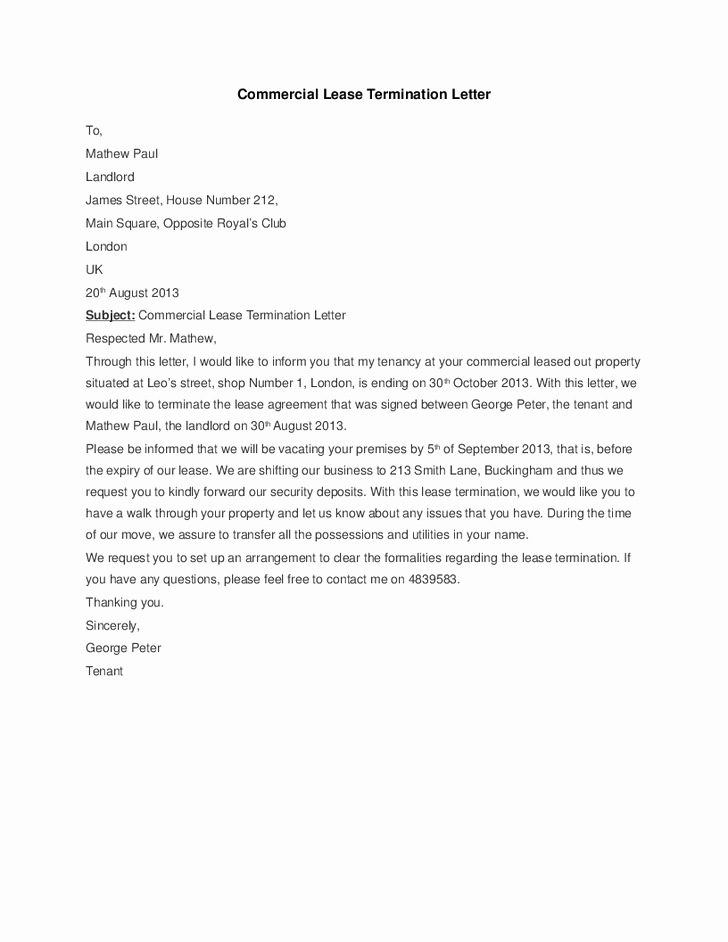 5 Mercial Lease Termination Letter Templates Word