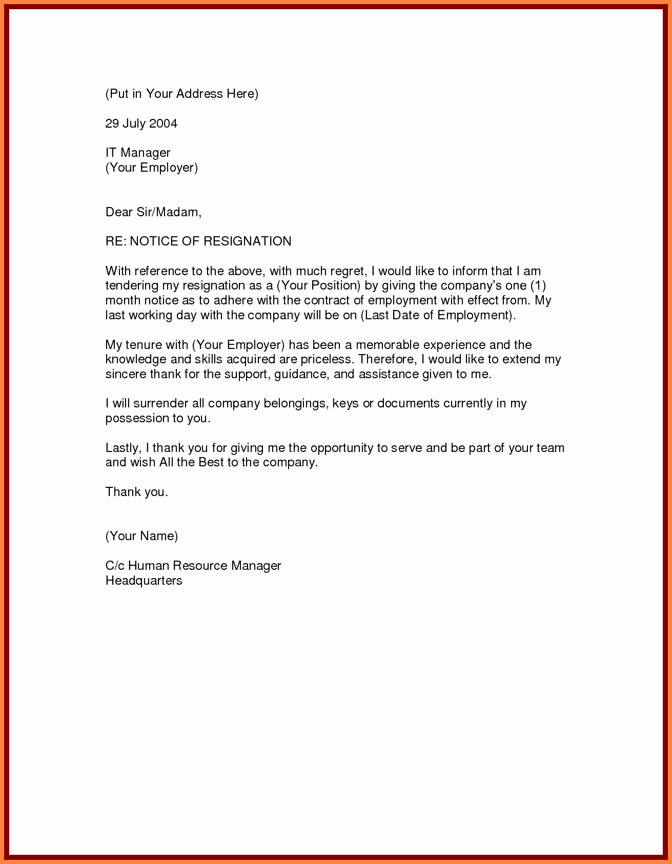 5 Month Notice Period Resignation Letter