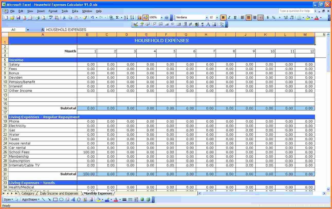 5 Monthly Bills Spreadsheet Template