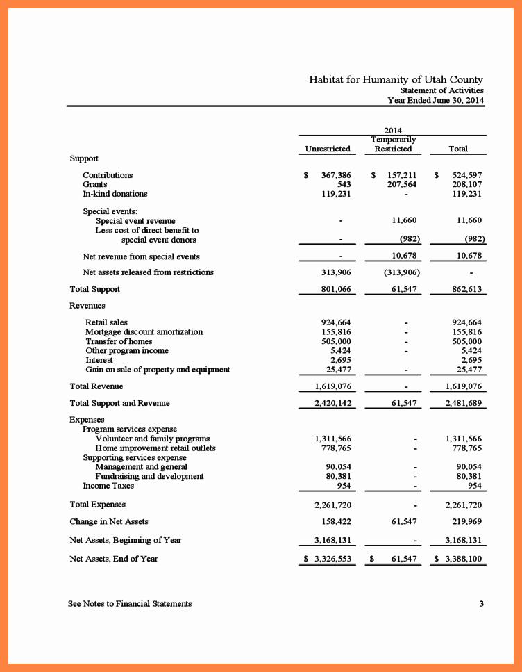 5 Non Profit Financial Statement Template Excel