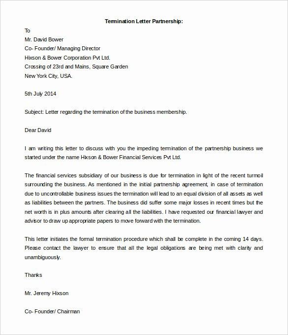 5 Partnership Termination Letter Free Word Pdf