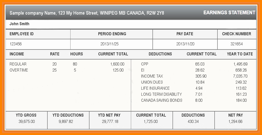 5 Paycheck Stub Template Excel