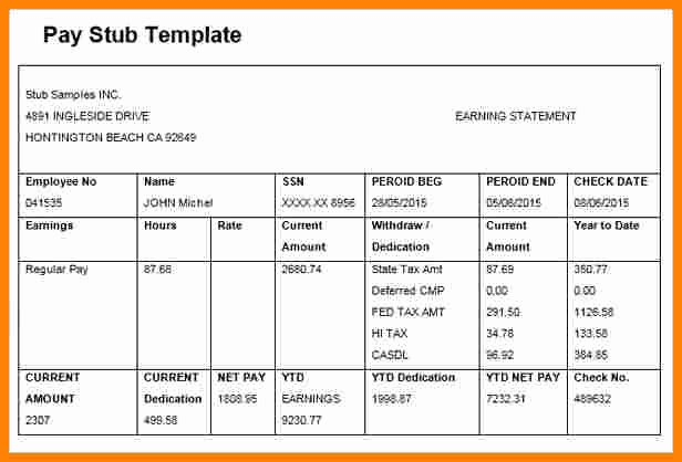 5 Paycheck Template Microsoft Word