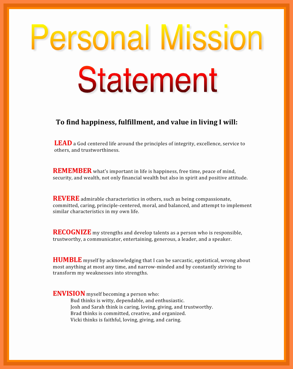 5 Personal Mission Statement Samples