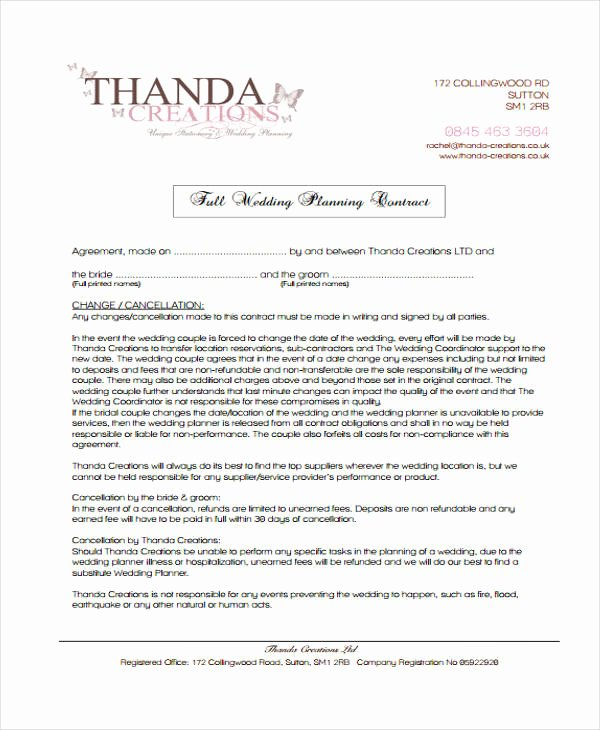 5 Planner Contract Templates Free Sample Example