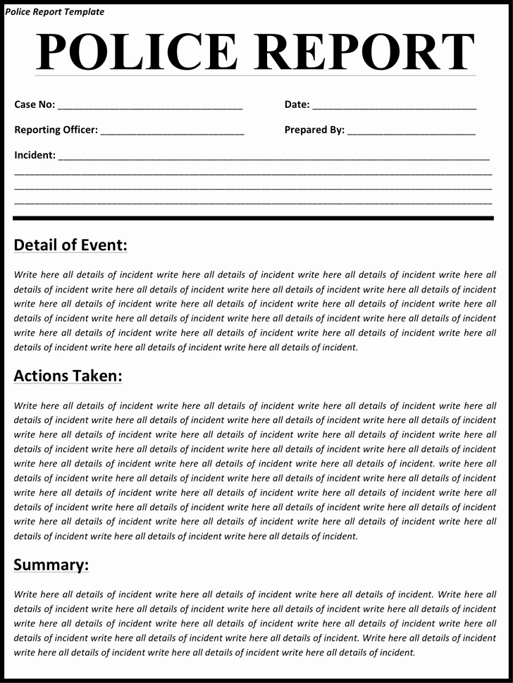 5 Police Report Templates Excel Pdf formats